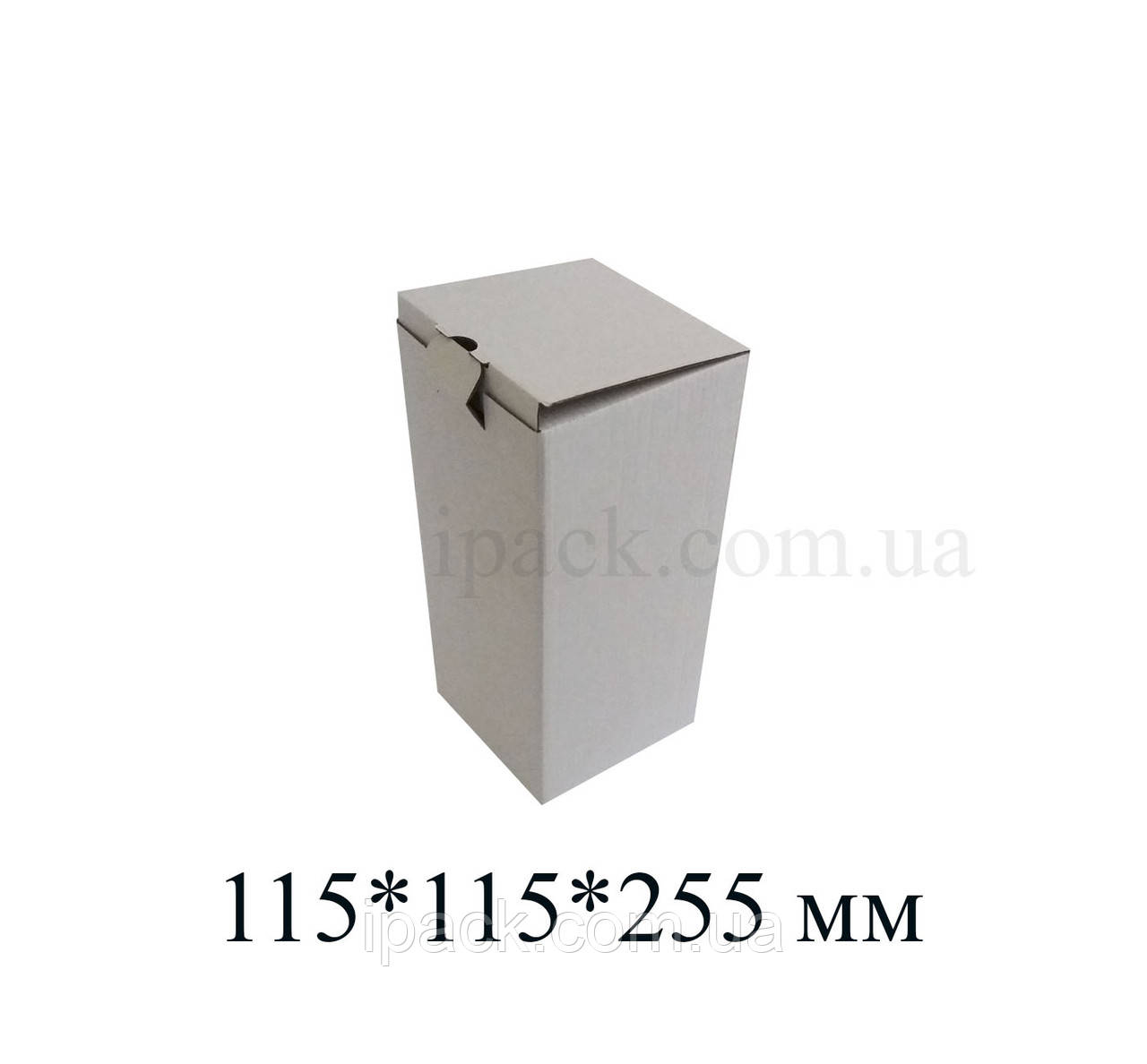 Коробка картонная самосборная, 115*115*255, мм, белая, микрогофрокартон
