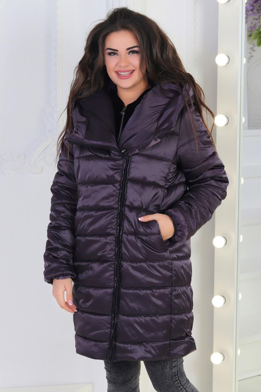 Демісезонна куртка великих розмірів, арт М522, колір баклажан! Є батал!