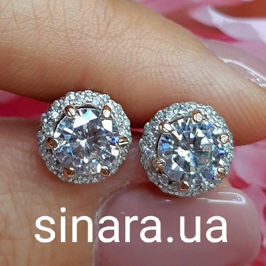 Серебряные серьги пуссеты с позолотой - Серьги гвоздики сияющие фианиты и серебро с позолотой