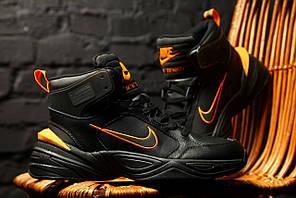 Зимние кроссовки Nike M2K Tekno Winter (Черно-оранжевые)