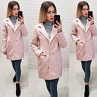 Двубортное пальто-жакет, арт 821/1, цвет пудра, фото 1