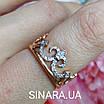 Кольцо Корона серебро с позолотой, фото 6