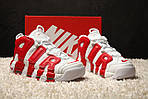 Мужские кроссовки Nike Air More Uptempo (бело-красные), фото 2