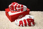 Мужские кроссовки Nike Air More Uptempo (бело-красные), фото 6