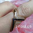 Кольцо серебро с позолотой и черными фианитами, фото 4