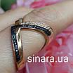 Кольцо серебро с позолотой и черными фианитами, фото 2