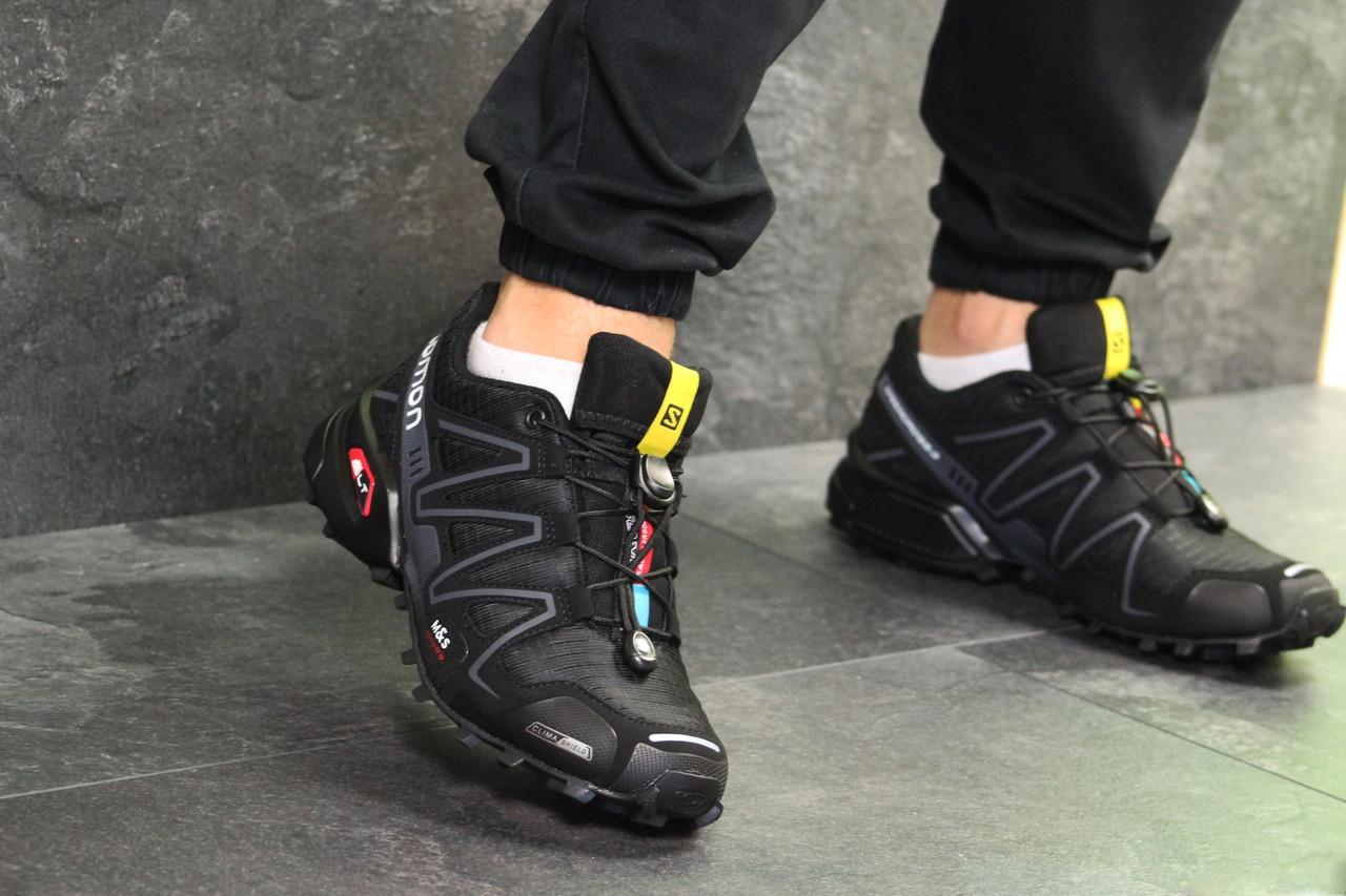 Мужские кроссовки Salomon Speedcross 3 (черно-серые) весна-осень