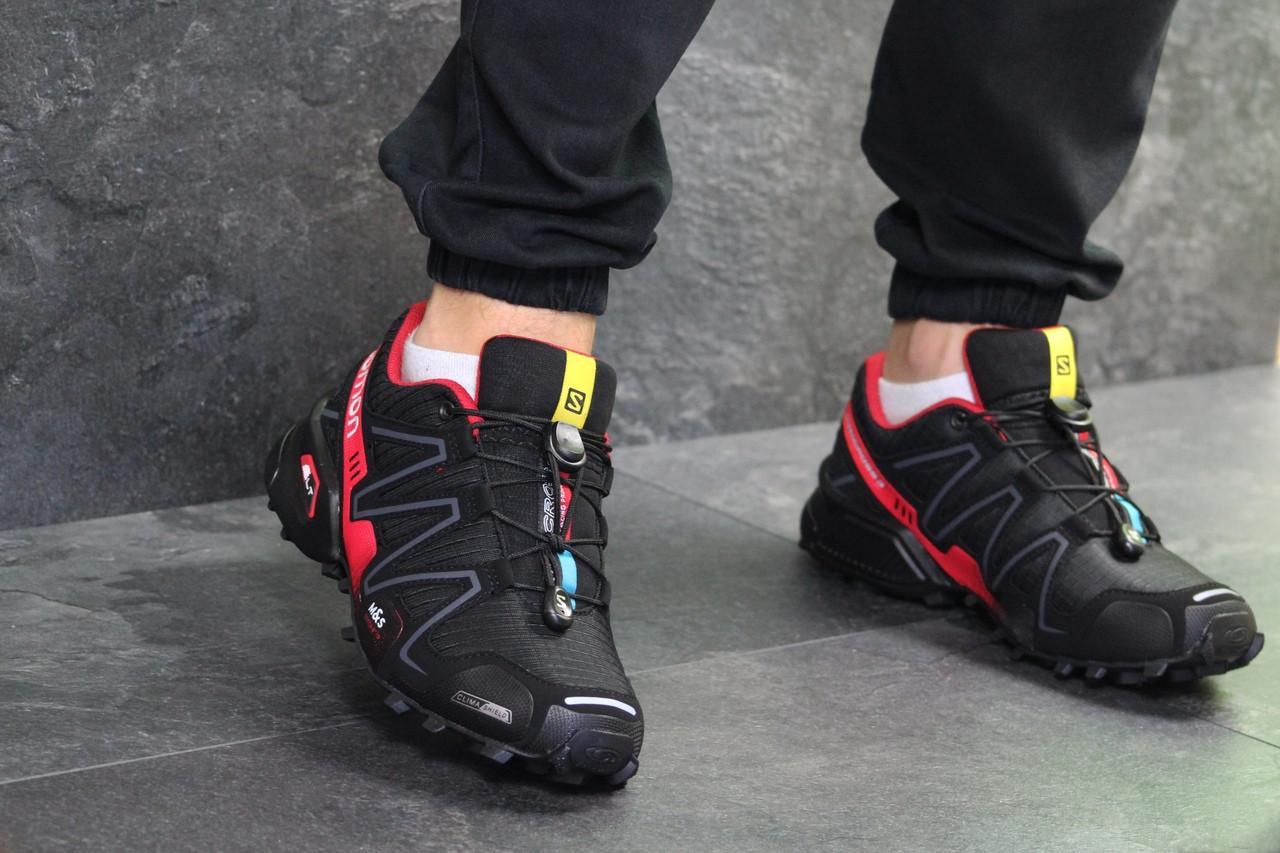 Мужские кроссовки Salomon Speedcross 3 (Черно-красные) весна-осень