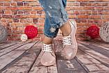 Женские кожаные кеды розового цвета с блеском Возможен отшив в других цветах кожи и замши, фото 3