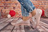 Женские кожаные кеды розового цвета с блеском Возможен отшив в других цветах кожи и замши, фото 4