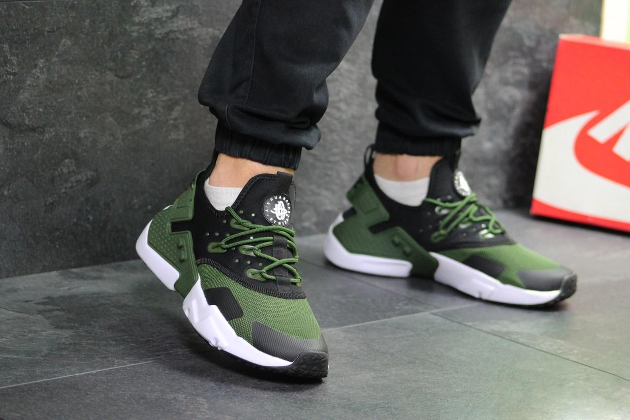 Мужские кроссовки Nike Air Huarache (Черно-зеленые)