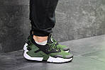 Мужские кроссовки Nike Air Huarache (Черно-зеленые) , фото 4