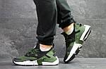 Мужские кроссовки Nike Air Huarache (Черно-зеленые) , фото 6