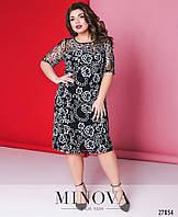 Кружевное слегка приталенное платье с кружевной вышивкой с 48 по 56 размер, фото 1