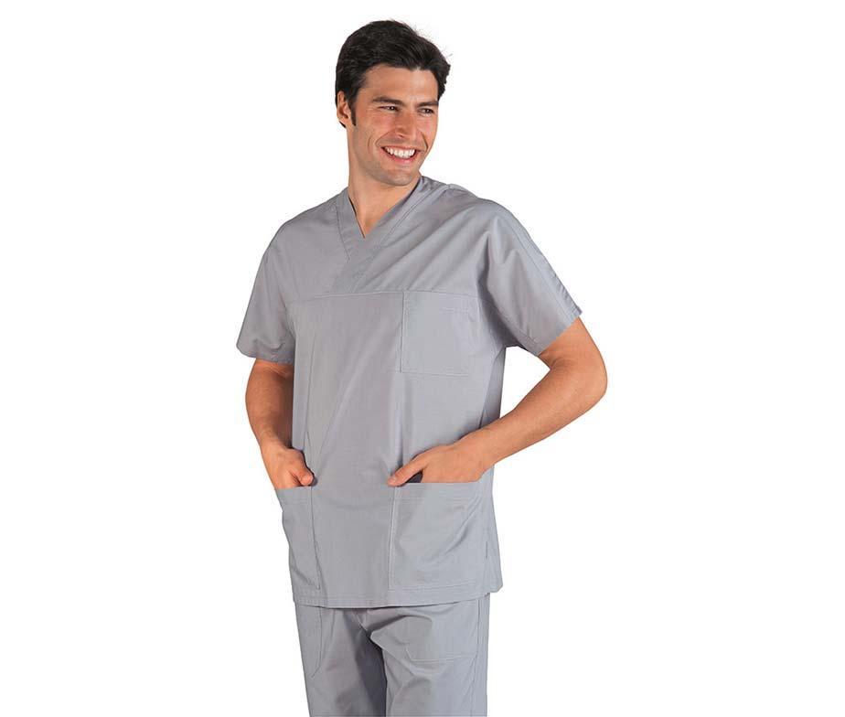 Медицинский костюм хирургический мужской светло-серый - 03302