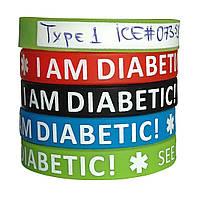 """Силиконовый браслет """"I AM DIABETIC"""" - внутри можно сделать свою надпись"""