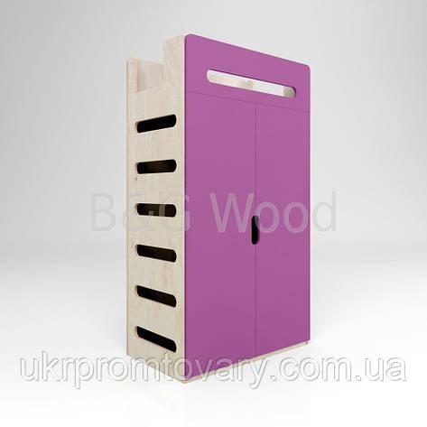 Платяной шкаф со штангой и полками Move W#2, мебель SPORTMORE, натуральное дерево, фанера от производителя, фото 2