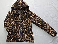 """Куртка демисезоннаяподростковая для девочки,""""Леопардовая"""" 10-14 лет, коричневая"""