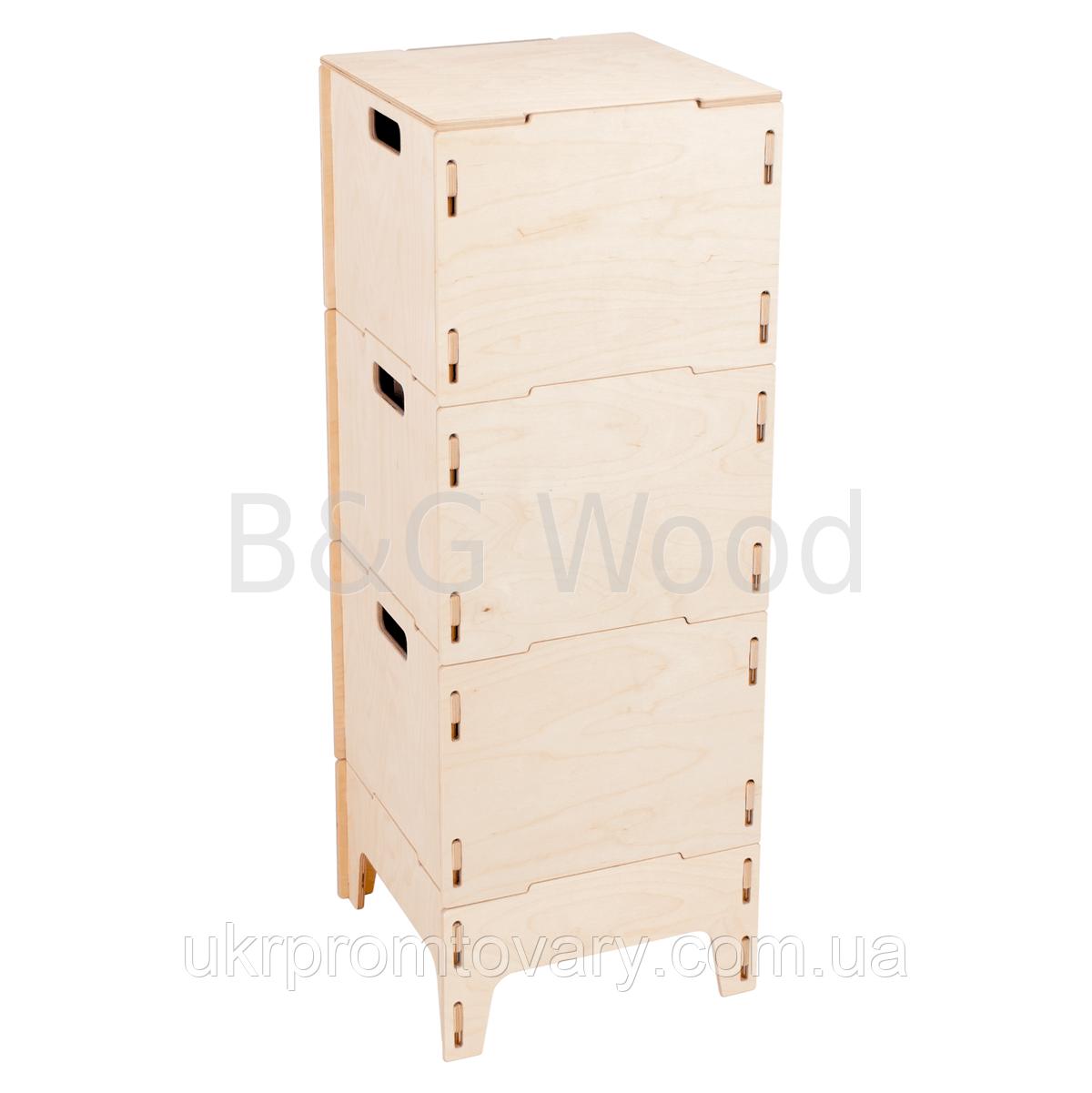 Ящик для хранения вещей тройной на ножках, мебель SPORTMORE, натуральное дерево, фанера от производителя