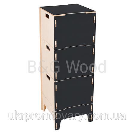 Ящик для хранения вещей тройной на ножках, мебель SPORTMORE, натуральное дерево, фанера от производителя, фото 2