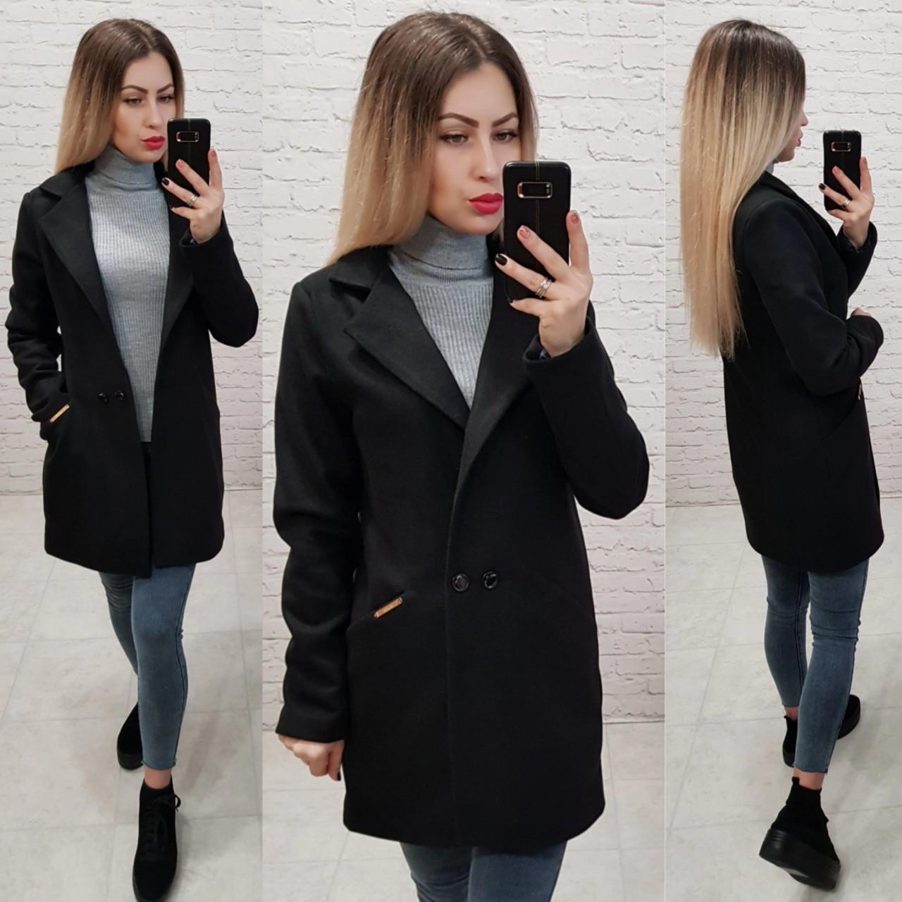Двобортне пальто-жакет, арт 821/1, колір чорний