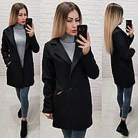 Двубортное пальто-жакет, арт 821/1, цвет черный