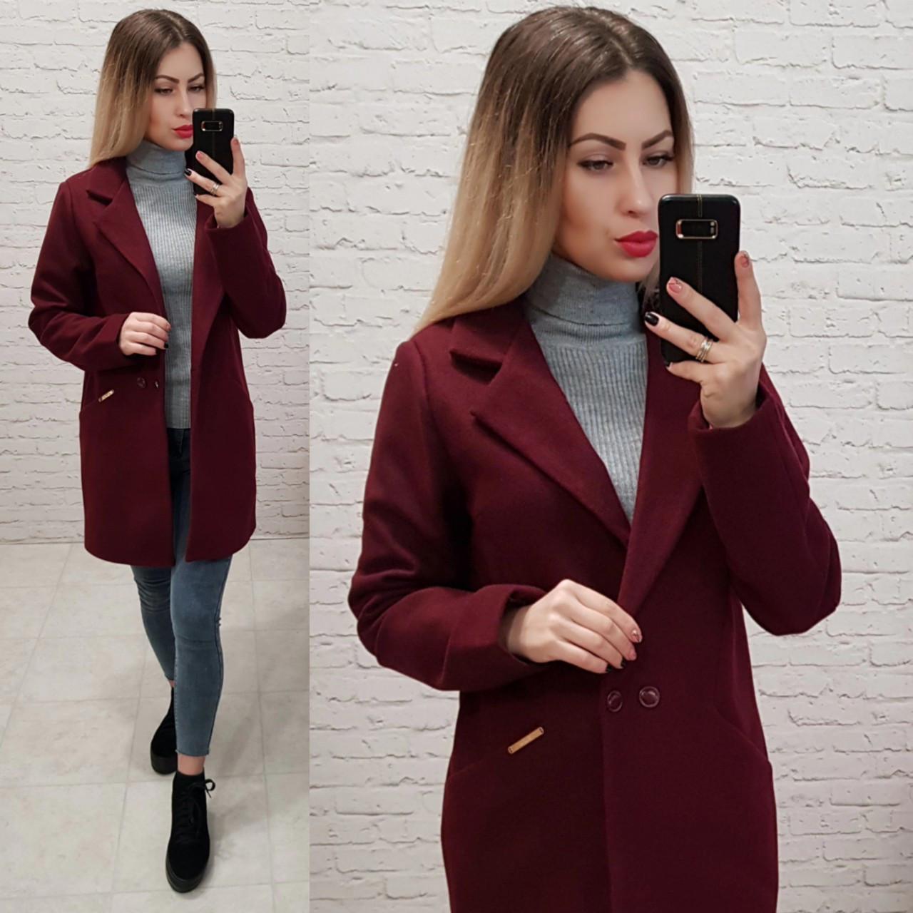 Двобортне пальто-жакет, арт 821/1, колір марсала
