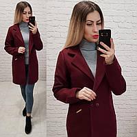 Двубортное пальто-жакет, арт 821/1, цвет марсала