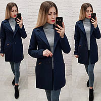 Двубортное пальто-жакет, арт 821/1, цвет темно синий