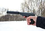 Спринговый металлический пистолет G3A (Walther PPS) с глушителем, Вальтер, страйкбол, пистолеты на пульках, фото 2