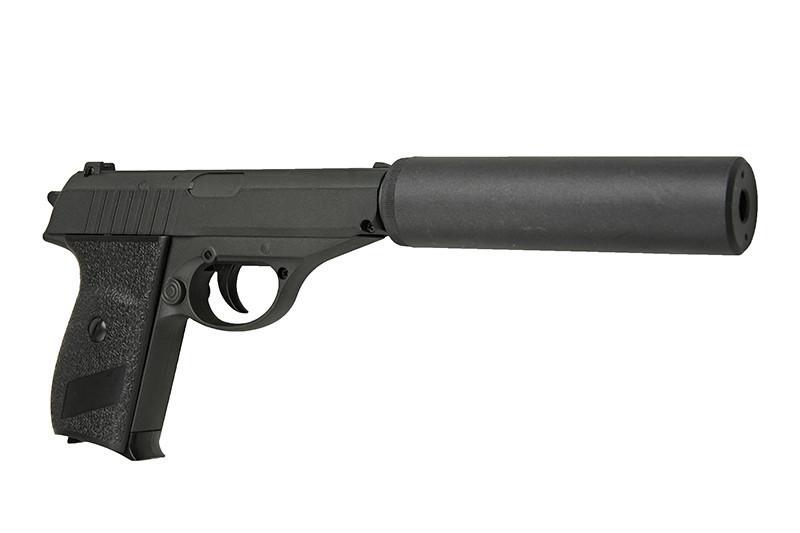 Спринговый металлический пистолет G3A (Walther PPS) с глушителем, Вальтер, страйкбол, пистолеты на пульках