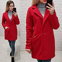 Двубортное пальто-жакет, арт 821/1, цвет красный
