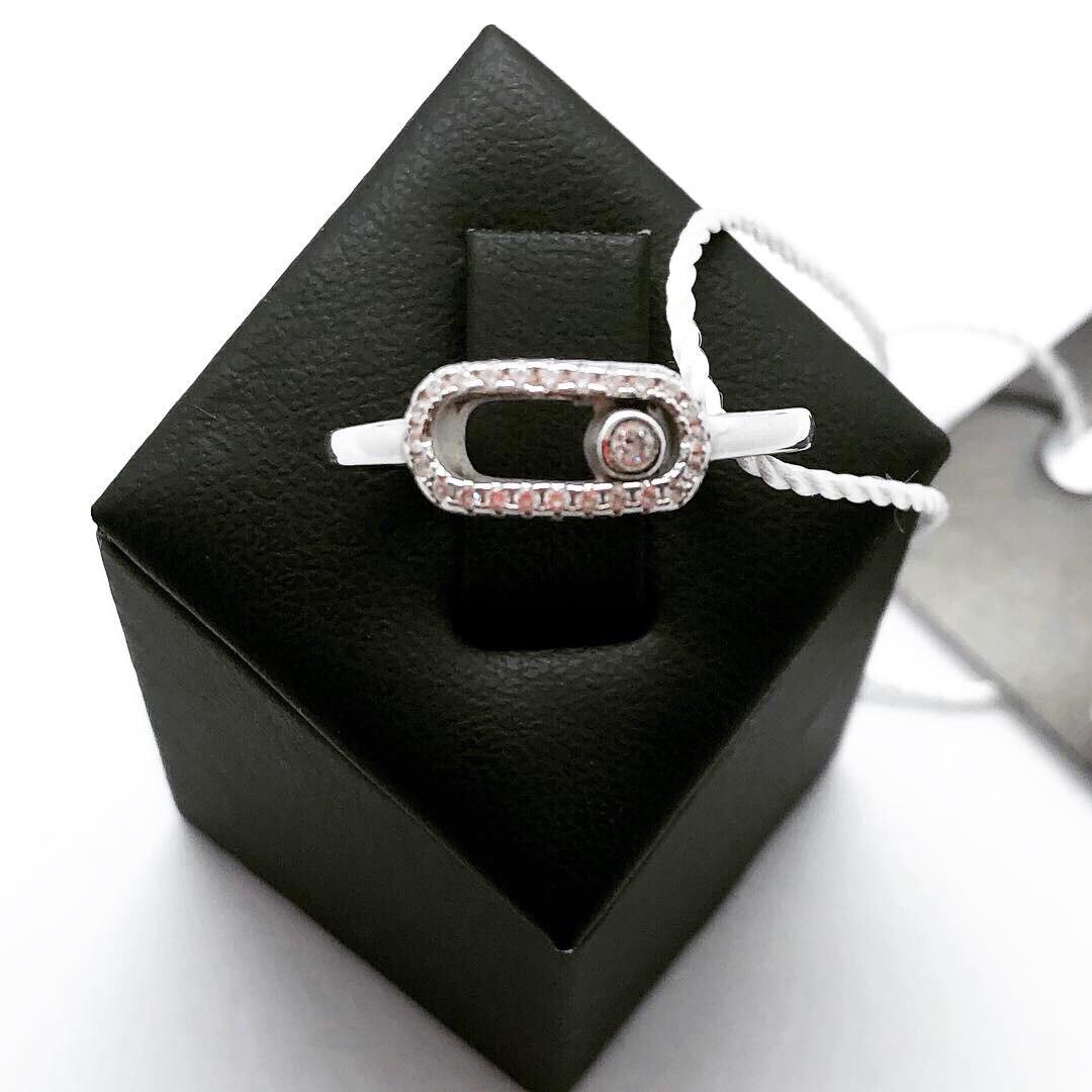 Динамичное кольцо Мої прикраси из серебра в стиле Messika (размер 18, 18.5)