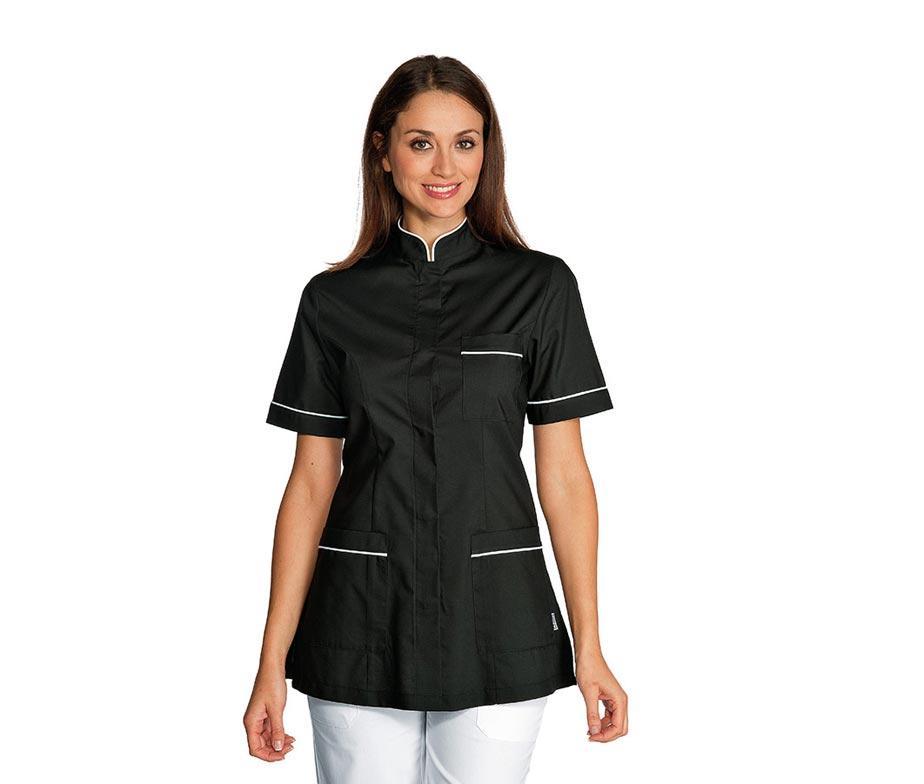 Медицинский костюм женский черный с белым кантом - 03105