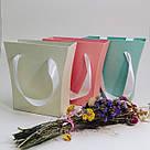 Картонна сумка під квіти з ручками 200/150*75*200 мм Рожевий блиск, фото 9