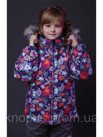 Зимняя термокуртка  для  девочек с меховой опушкой, Pidilidi, размеры 110-128