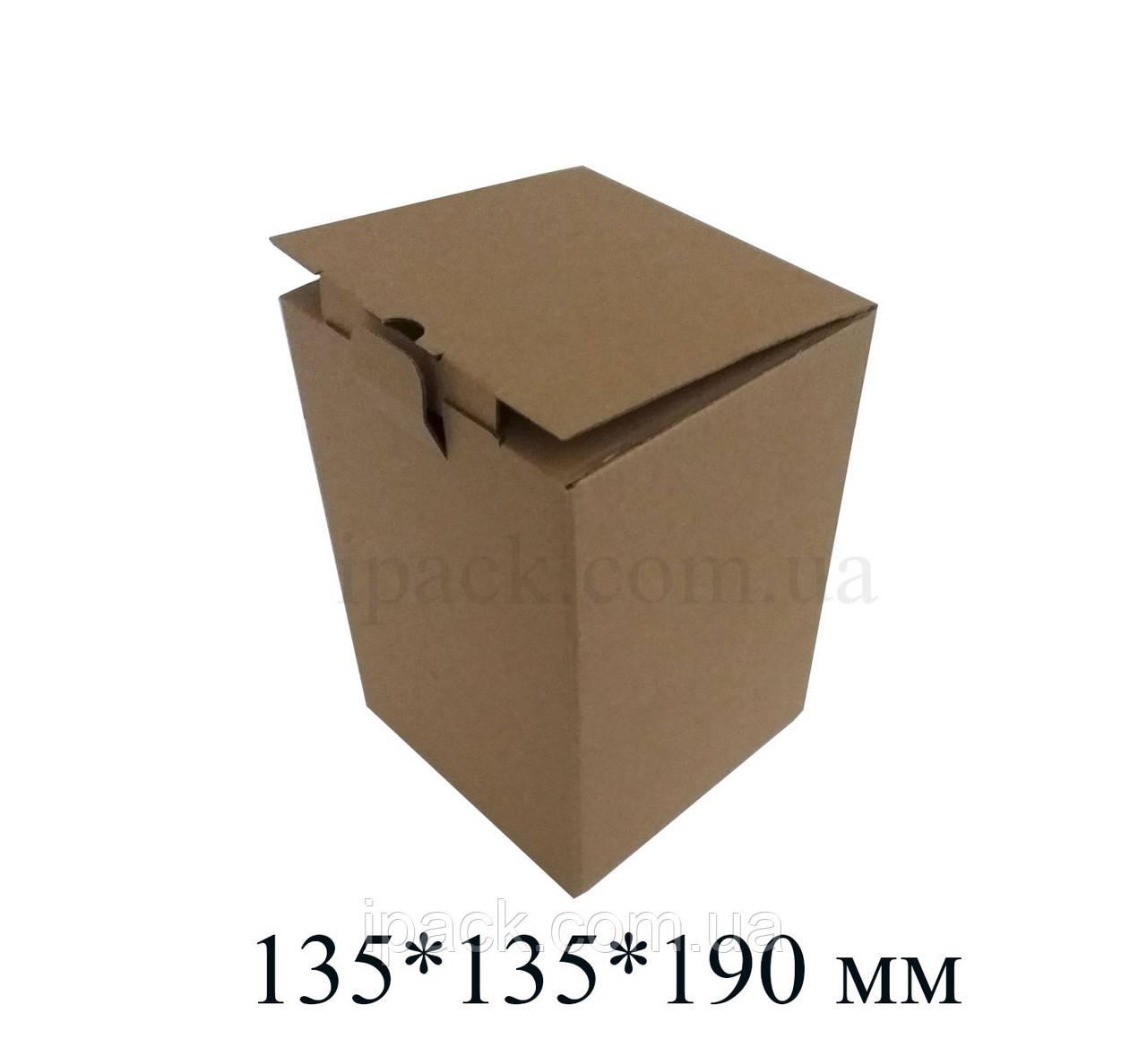 Коробка картонная самосборная 135*135*190 мм бурая  крафт микрогофрокартон