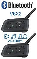 Мотогарнитура Bluetooth V6 PRO 1200 рации для шлема, интерком 2 шт.