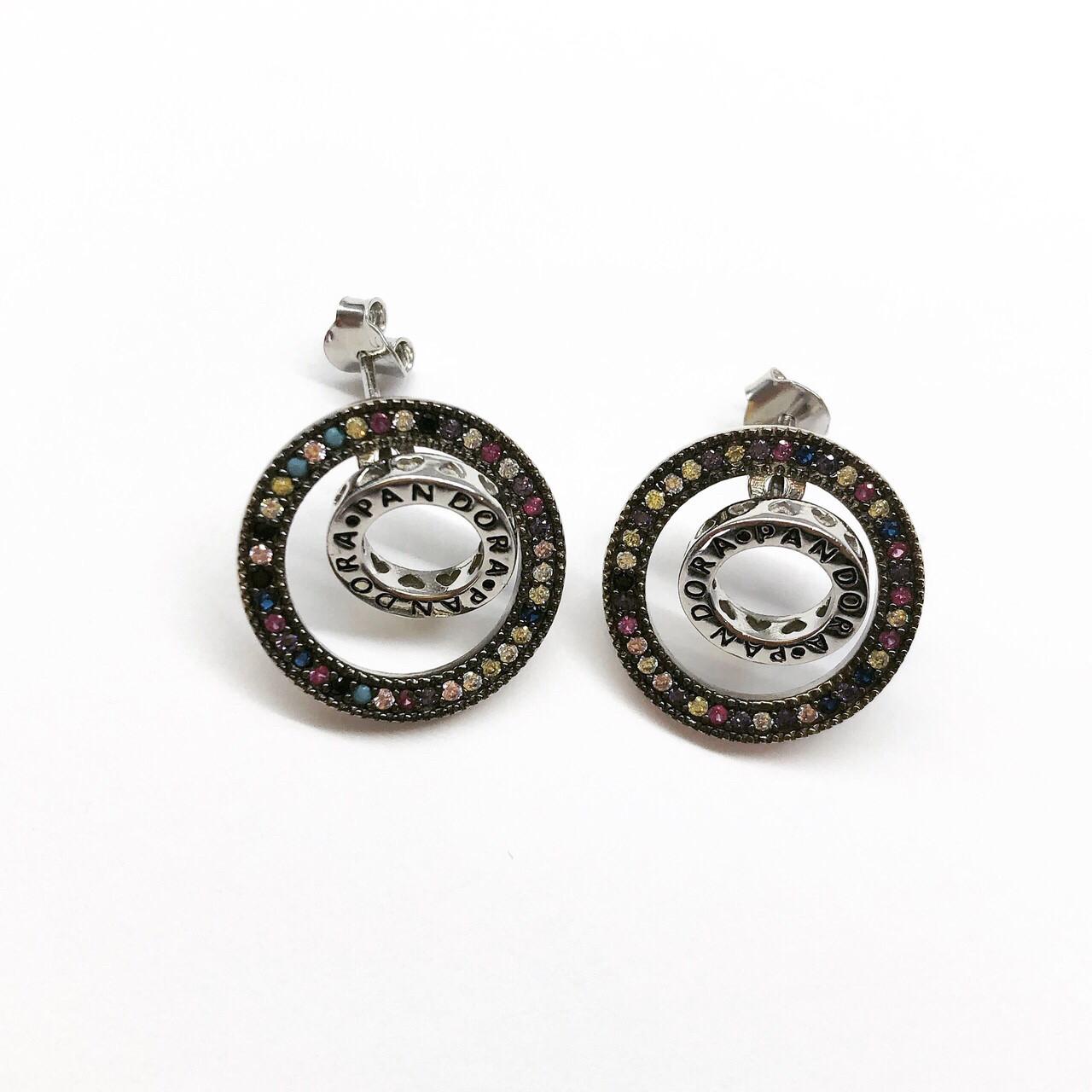 Серьги из серебра Мої прикраси в стиле Pandora цветные камни