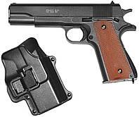 Спринговый металлический пистолет G13+ (Colt 1911) с кобурой, Кольт 1911, страйкбол, пистолеты на пульках