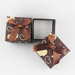 Подарочная коробочка Сердечки цвет коричневый