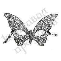 Кружевная маска Загадка бабочка (серебро)