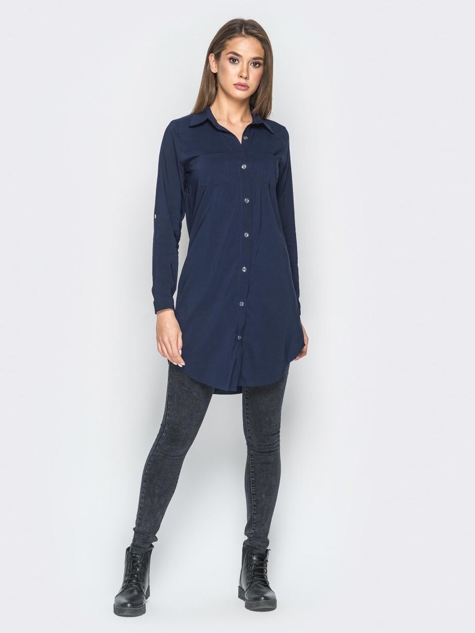 48ea05a78d4 Стильная женская темно-синяя рубашка с принтом на спинке р.42