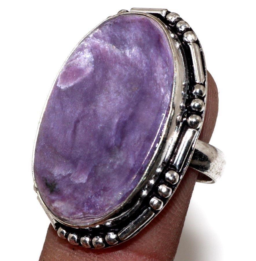 Кольцо чароит кольцо овальное с чароитом размер 17.5-17,8. Кольцо с камнем чароит Индия