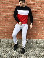 Спортивный костюм без принта мужской цветной свитшот серые штаны