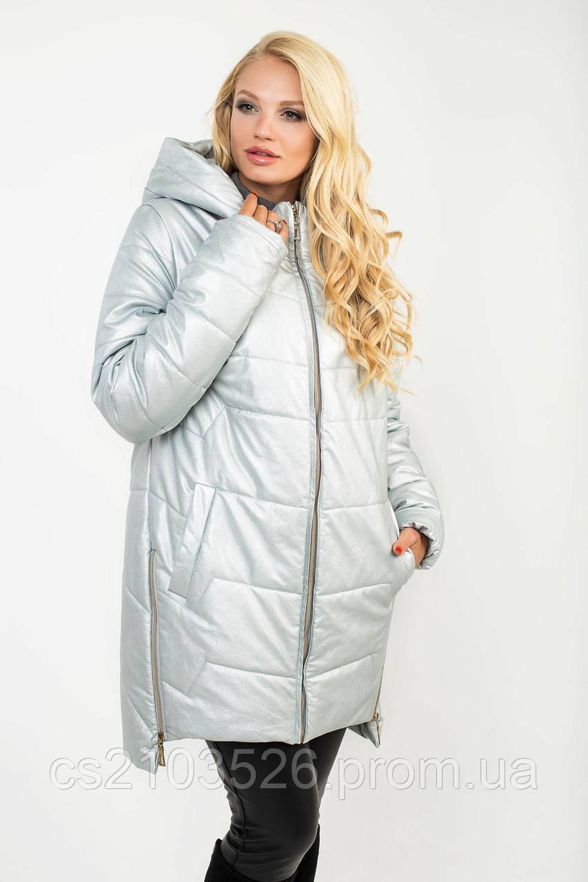 a7f30d5bdb9 Удлиненная женская демисезонная куртка(52-62)серебристого цвета. 1 350 грн
