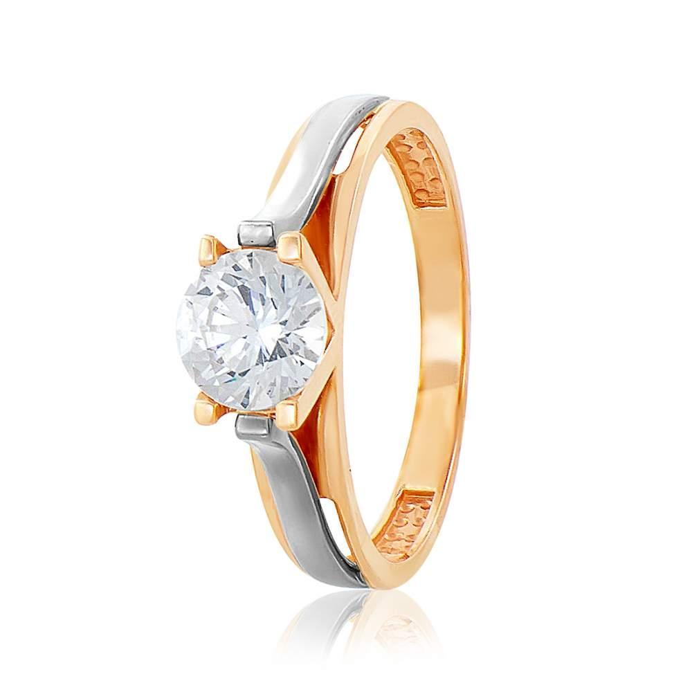 Кольцо золотое с камнем SWAROVSKI Zirconia, КД4166SW  Eurogold