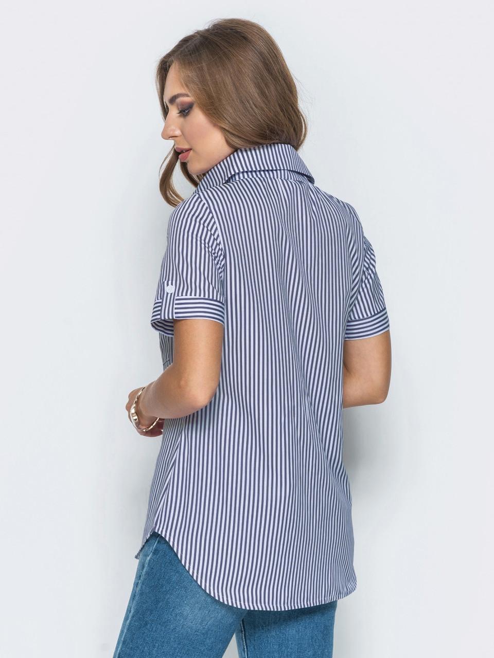 e9a4215947c ... Модная женская рубашка в полоску с короткими рукавами р.44