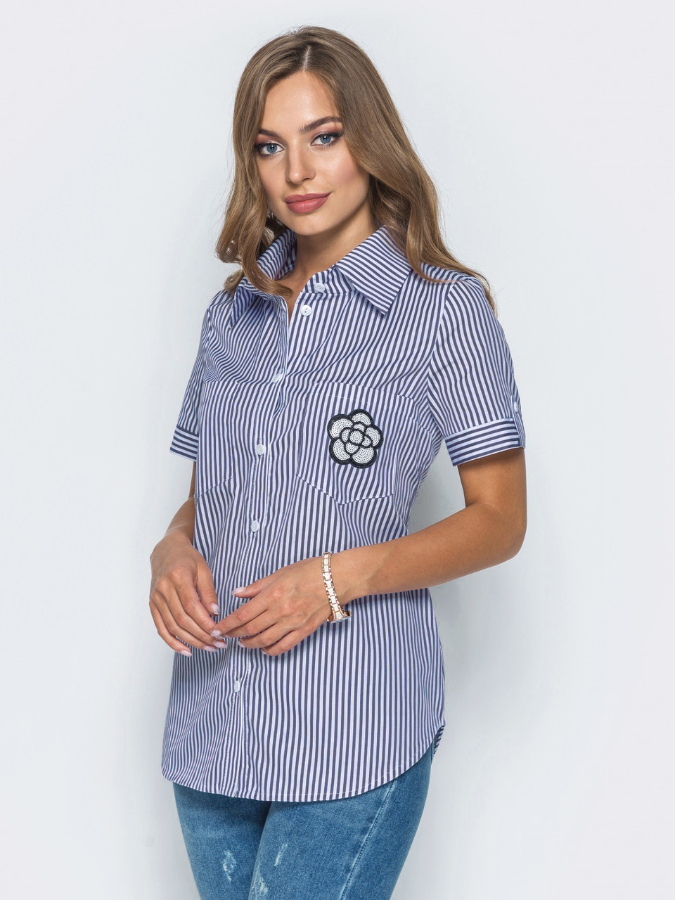 8d3081cfc3e Модная женская рубашка в полоску с короткими рукавами р.44
