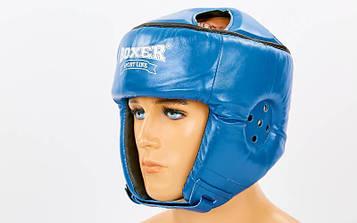 Шлем боксерский открытый с усиленной защитой макушки кожаный BOXER (р-р M-L)